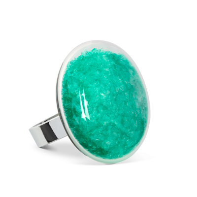 Glass ring - Galet Medium Paillettes Colors Turquoise