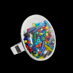 Glass ring - Galet Medium Mix Perles Multicolor