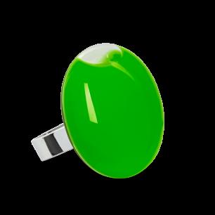 Anello in vetro - Galet Medium Milk Verde scuro