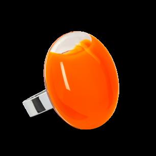Anello in vetro - Galet Medium Milk Arancione