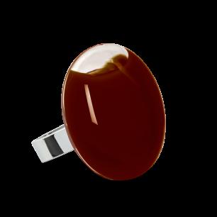 Anello in vetro - Galet Medium Milk Cioccolato