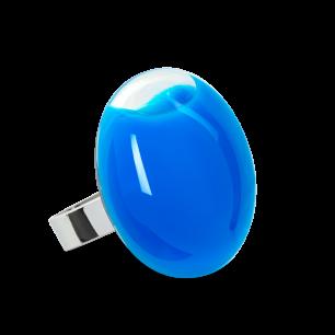 Anello in vetro - Galet Medium Milk Blu reale