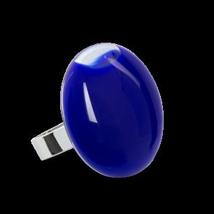 Anello in vetro - Galet Medium Milk Blu scuro