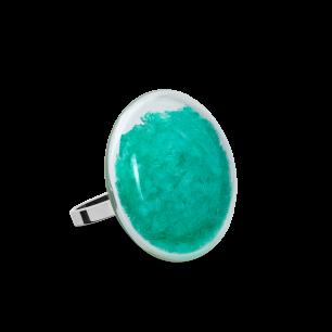 Glasring - Galet Mini Paillettes Colors Türkis