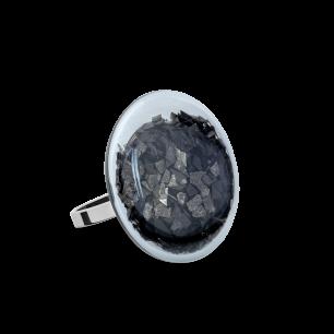 Anello in vetro - Galet Mini Paillettes Nero
