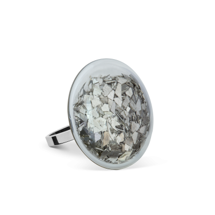 Anello in vetro - Galet Mini Paillettes Argento