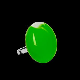 Anello in vetro - Galet Mini Milk Verde scuro