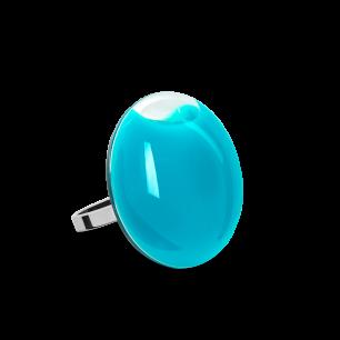 Anello in vetro - Galet Mini Milk Turchese