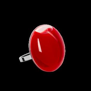 Anello in vetro - Galet Mini Milk Rosso scuro