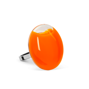 Anello in vetro - Galet Mini Milk Arancione