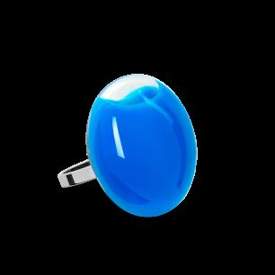 Anello in vetro - Galet Mini Milk Blu reale