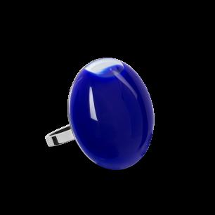 Anello in vetro - Galet Mini Milk Blu scuro