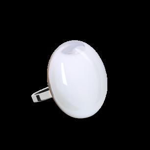 Anello in vetro - Galet Mini Milk Bianco