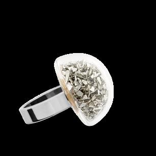 Anello in vetro - Dome Mini Paillettes Argento