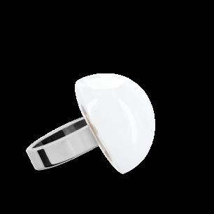 Anello in vetro - Dome Mini Milk Bianco