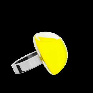 Anello in vetro - Dome Mini Milk Giallo
