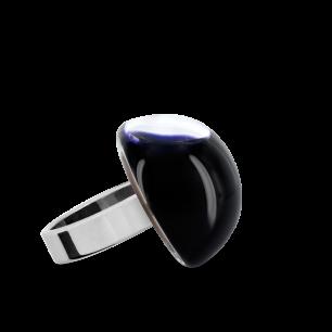 Anello in vetro - Dome Mini Milk Nero