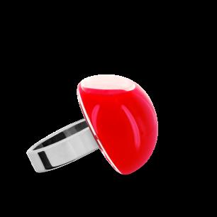 Anello in vetro - Dome Mini Milk Rosso chiaro