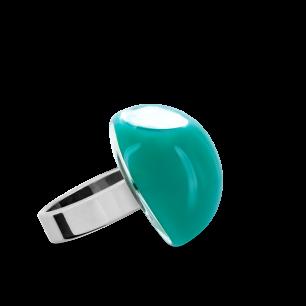 Anello in vetro - Dome Mini Milk Turchese