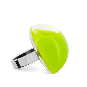 Anello in vetro - Dome Medium Milk Verde Chiaro