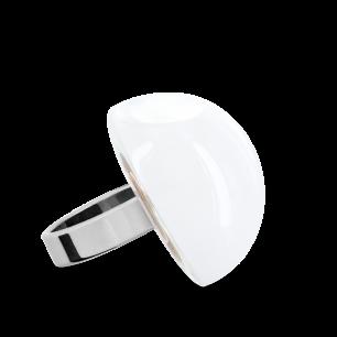Anello in vetro - Dome Medium Milk Bianco