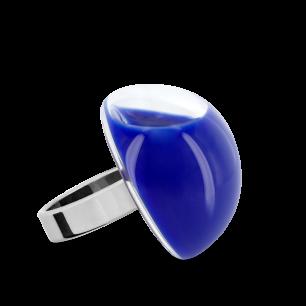 Anello in vetro - Dome Medium Milk Blu scuro