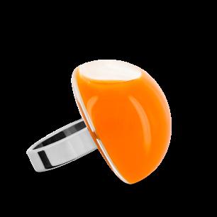 Anello in vetro - Dome Medium Milk Arancione