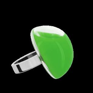 Anello in vetro - Dome Medium Milk Verde scuro