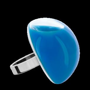 Bague en verre soufflée - Dome Giga Milk Bleu roi