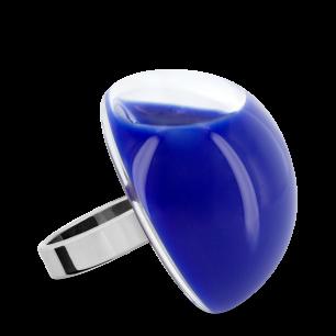 Bague en verre soufflée - Dome Giga Milk Bleu Foncé