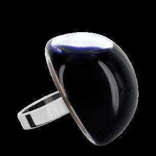 Bague en verre soufflée - Dome Giga Milk Noir