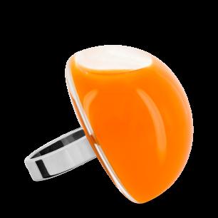 Bague en verre soufflée - Dome Giga Milk Orange