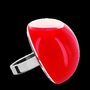 Bague en verre soufflée - Dome Giga Milk Rouge clair