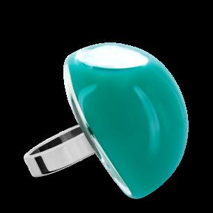 Bague en verre soufflée - Dome Giga Milk Turquoise