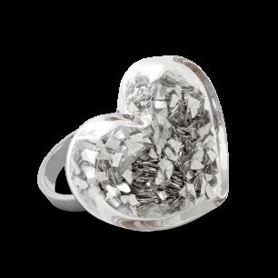 Glass ring - Coeur Medium Paillettes Silver