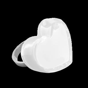 Anello in vetro - Coeur Medium Milk Bianco