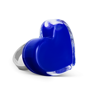 Anello in vetro - Coeur Medium Milk Blu scuro