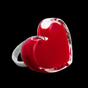 Anello in vetro - Coeur Medium Milk Rosso scuro