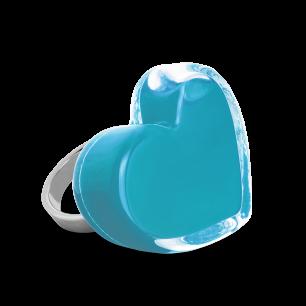 Anello in vetro - Coeur Medium Milk Turchese