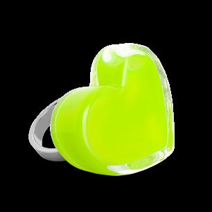 Anello in vetro - Coeur Medium Milk Verde Chiaro