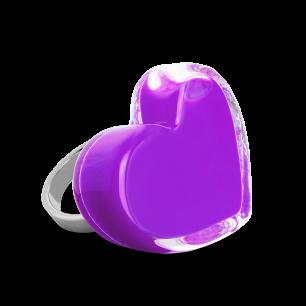 Anello in vetro - Coeur Medium Milk Viola