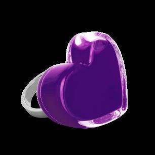 Anello in vetro - Coeur Medium Milk Porpora scuro