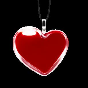 Pendentif en verre soufflé - Coeur Medium Milk Rouge foncé