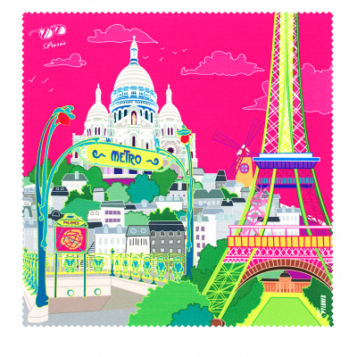 Microfibre cloth for glasses - Belle Vue City Paris rose