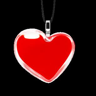 Pendentif en verre soufflé - Coeur Medium Milk Rouge