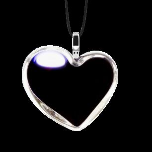 Pendentif en verre soufflé - Coeur Medium Milk Noir