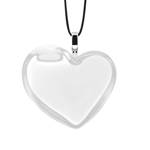 Pendentif en verre soufflé - Coeur Medium Milk Blanc