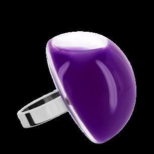 Bague en verre soufflée - Dome Giga Milk Violet