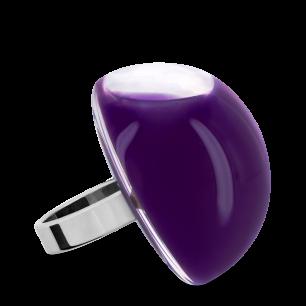 Bague en verre soufflée - Dome Giga Milk Violet foncé