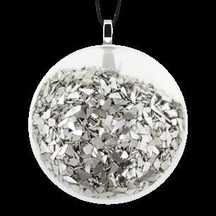 Necklace - Galet Medium Paillettes Silver